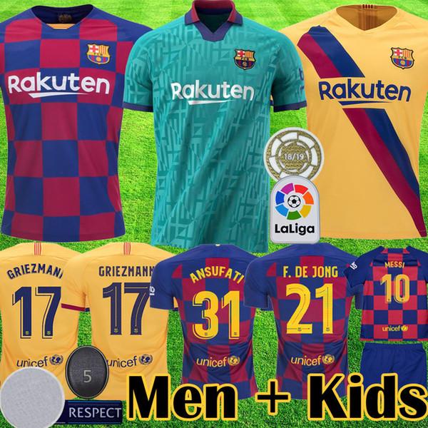 2019 2020 barcelona MESSI GRIEZMANN futbol formaları barca F DE JONG futbol forması futbol forması yeni ekipman 19 20 çocuk kitleri üniforma