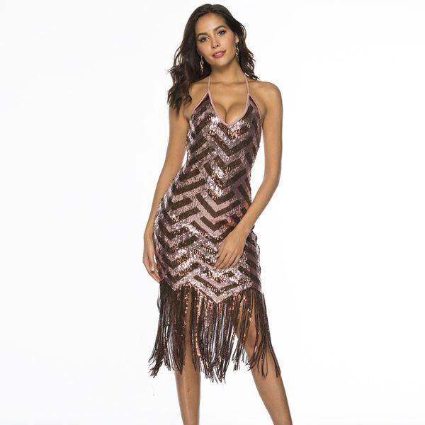 2018 New Real Regular Vestido Longo Vestido De Festa Plus Size Mulheres Slings Beads Vestidos Ins Vento Lantejoulas Franja Maxi Vestido