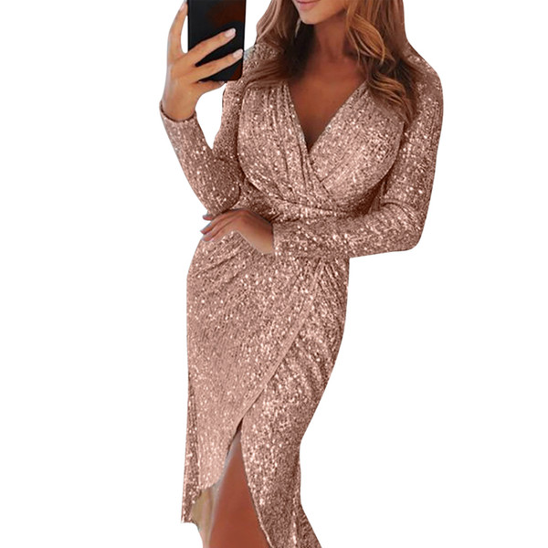 MoneRiff 2019 Sexy Vestidos Mujer Deep V Neck Shiny Dress Women Bodycon Sequins Wrapped Ruched Long Sleeve Night Club Slim Dress