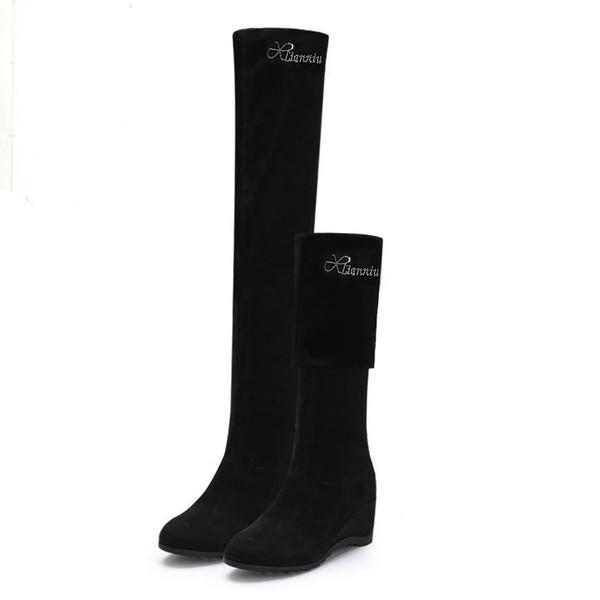 Black Elastic Flock Slim Fit Stivali sopra il ginocchio Donna 2019 Autunno Inverno signore di cristallo zeppe tacco alto Lungo coscia High botas