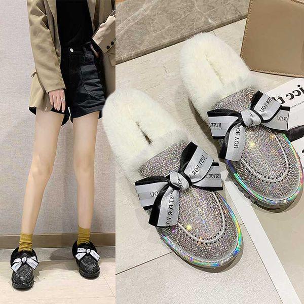 Zapatos del cristal de Bling Caliente Caliente nieve Botas Mujeres Arco-nudo coloridas diamantes con lentejuelas de tela Rhinestones invierno Plus piel Mujer