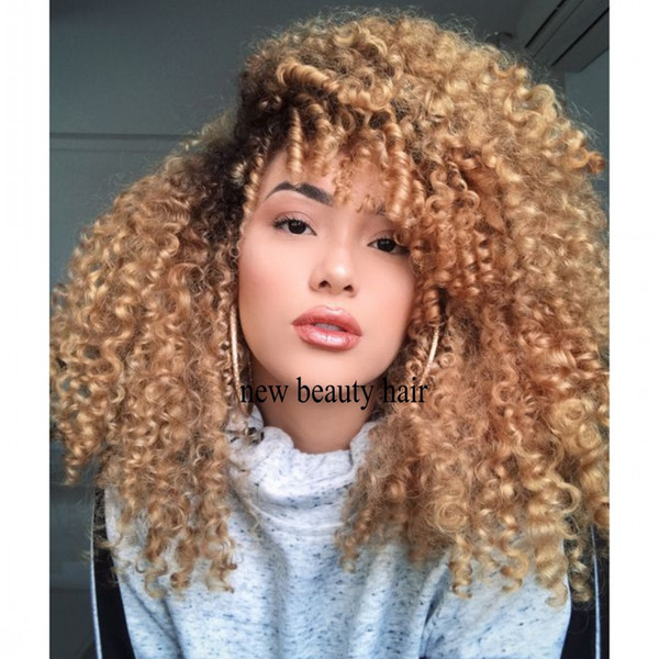 Honey Blonde Ombre 200 Density Synthetic Lace Front Wigs Kinky Curly Preplucked 360 Lace Frontal Wig For Black Women With Baby Hair Equal Wigs Blonde