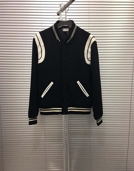 19ss Mens Designer Jackets Baseball splice leather print clothes jumper long sleeve women Lapel Neck Top quality polyester01