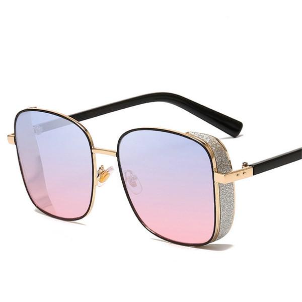 Diamond Oversized Sunglasses Women Men Fashion Brand Designer Square Star Sun Glasses 2019 Vintage Black Sunglass UV Shades FML