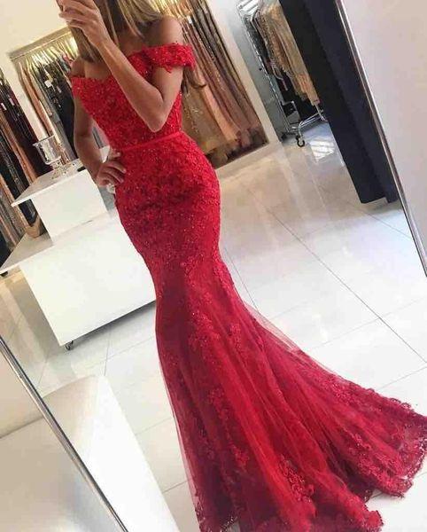 2019 New Red Lace Mermaid Abendkleider veatidos off Shoulder Perlen Applikationen Tüll bodenlangen langen Abendkleider vestidos de novia