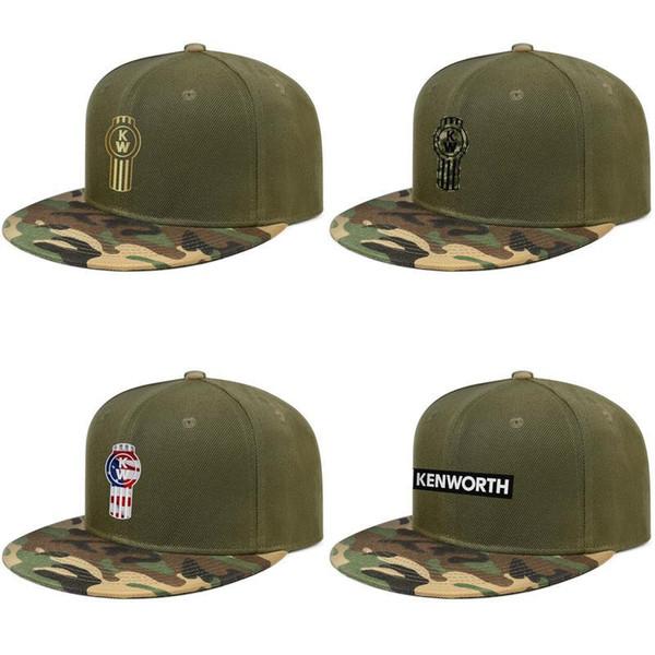 Kenworth w900 Trucks Mechanics Drive Dump Mens and womens Baseball Camouflage Cap Fitted Vintage Original hats American flag Flash gold