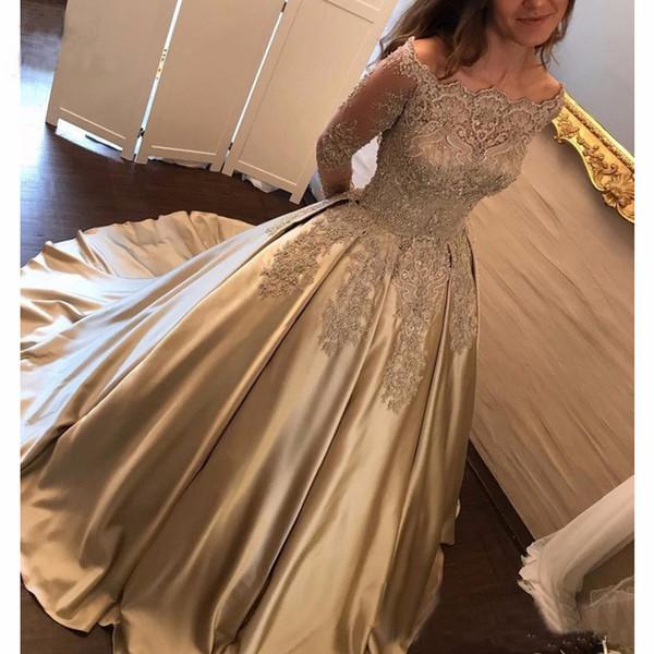 Exquisite Bateau Long Sleeve Prom Dress Button Up Back Gold Prom Dress Lace Appliques Beaded Fat Girl Party Prom Dress vestidos de noche