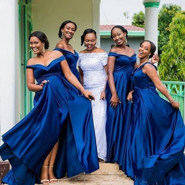 Royal Blue Cheap Bridesmaid Dresses Off the Shoulder Side Split Country Long Wedding Guest Dress Satin Plus Size Bridal Party Dresses