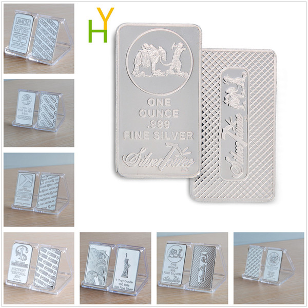top popular 1 Oz Fine Silver replica Art Bullion Bar Bars Non Magnetic Crafts Collectibles Business Gifts Free Shipping 20pcs lot 2019