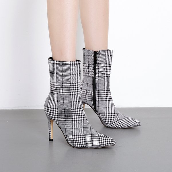 a66fbc14dfd906 Bottes d'hiver femmes tissu à carreaux Stiletto talons hauts bout pointu  chaussures de mode