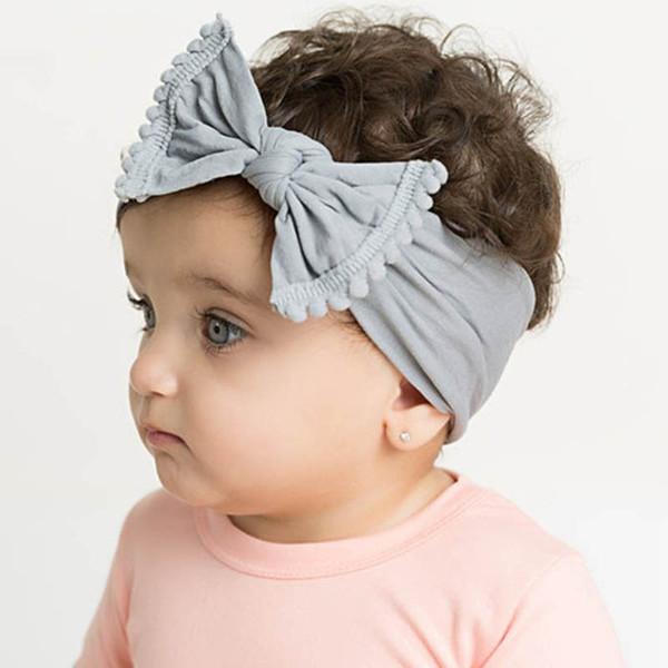 Ins Bebek Kız Yay Bantlar 2019 Yeni 21 Katı Renkler Toddler Naylon Bohemia Kafa Kız Türban Bebek Saç Aksesuarları Headwrap Saç bantları