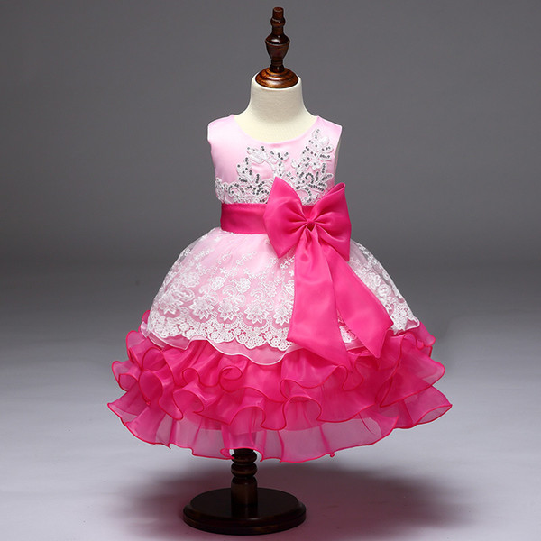 European and American girl princess dress sequined embroidered dress bow multi-layer bitter fleabane skirt