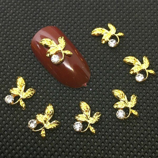 10 Pcs Gold Leaves Nail Art Decorations 3D Charms Metal Deco Women Glitter Diamond Manicure Supplies Bling Japanese Crystal Stud