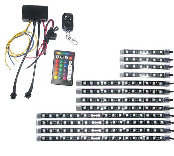 3 taglie 12 strisce led musica attiva Sincronizzazione indicatori di direzione e luci di stop Funzione LED Knight Rider Kit di illuminazione per moto