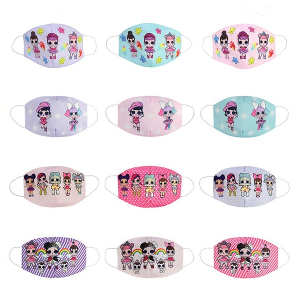 top popular 12style girl cartoon doll Mask Adult Kids Cosplay Dress Lower Half Face Mouth Muffle Mask Reusable Dust Warm Windproof Cotton Mask zx02 2021
