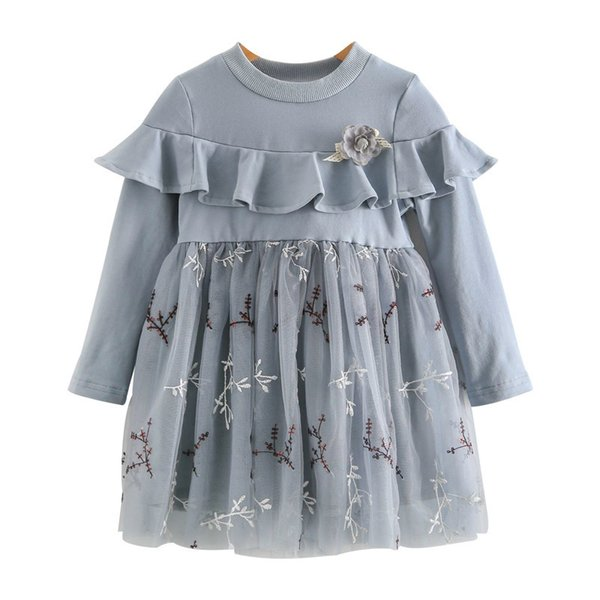 WLG girls spring autumn princess dresses kids patchwork floral pattern dress baby party blue lace mesh dress children 2-6 years