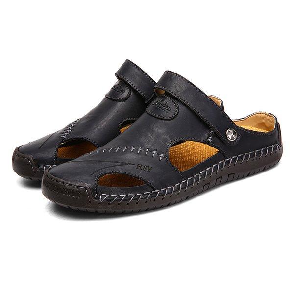 Kuh Mann Großhandel Hausschuhe Männliche Männer Schuhe Echtes Herren Strand Von Flache Sandalen Sommer A753 Leder L3Rjq54A