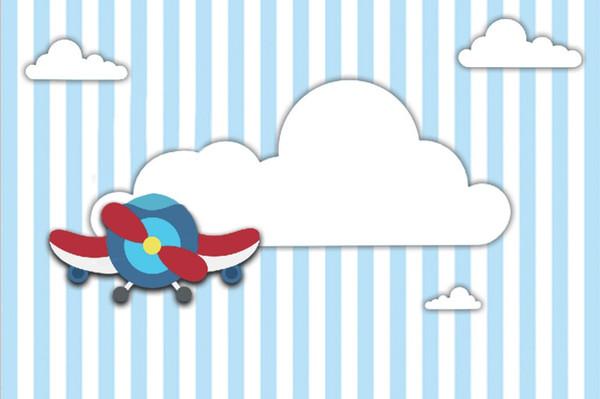 7x5FT Hellblaue Streifen Weiße Wolken Flugzeug Babyparty Benutzerdefinierte Fotostudio Hintergrund Hintergrund Vinyl 220 cm x 150 cm