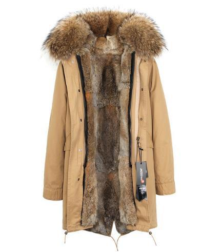 Brown Grass rabbit furs Liner removable Ladies Long parkas hooded with Raccoon fur collar warm for cold winter JAZZEVAR Brand