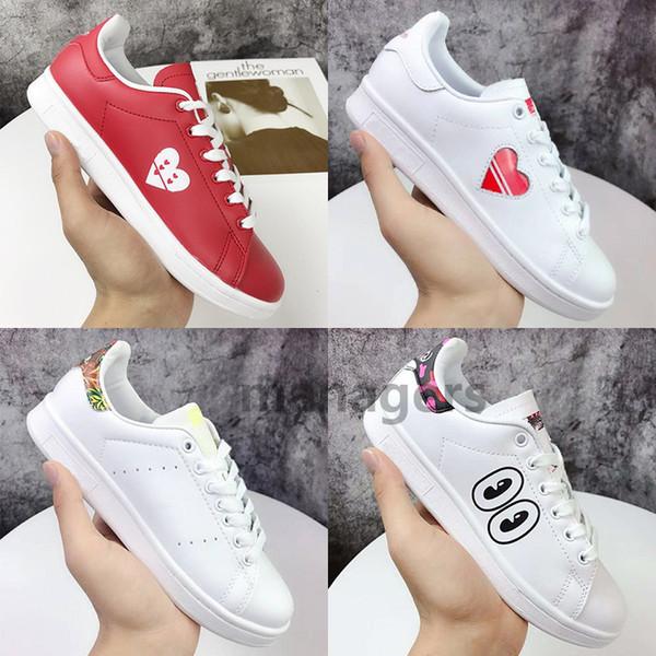 Meilleur or estampage Adidas stan simth chaussures de sport laser trail amour yeux fleurs triple blanc noir cuir véritable mens sneakers designer