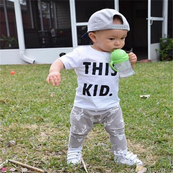 2PCS Baby Boy Sets Toddler Kids Baby Boy Short Sleeve Letter Print T-shirt+Deer Print Long Pants Set Baby Boy Clothes M8Y16