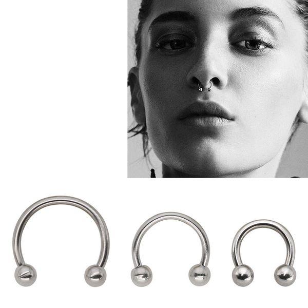 QCOOLJLY 1 PC Fashion Circular Horseshoe Ring Nose Hoops Ring And Septum Rings Tragus Piercing Body Jewelry Women Men Wholesale