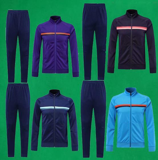 Trajes de chaqueta de fútbol para hombre 2019 Azul Chaqueta de fútbol Pantalones largos 19/20 Chándal de fútbol en blanco para adultos Abrigos deportivos al aire libre negros Pantalones