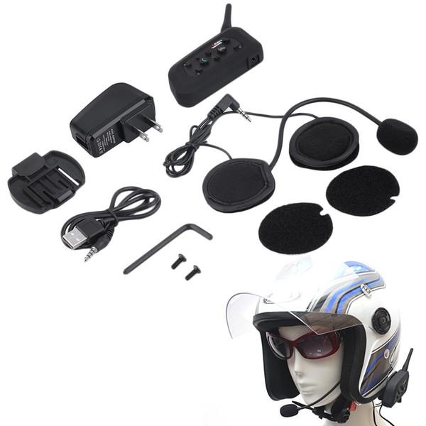 V6 Helmet Intercom 6 Riders 1200M Motocicleta Bluetooth Intercom Auriculares Walkie Talkie Casco BT Interphone Plug