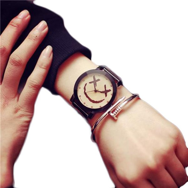 Montre Lovers Couple Watch Women Clock Fashion Smiling Face Stainless Steel Quartz Watches Men Dress Hours Date Gift #Zer