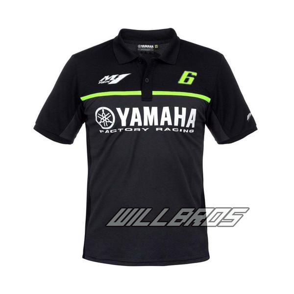 2017 NUEVO 100% Algodón Moto GP verano para Yamaha Team moto Polo MENS The Doctor Black Cotton T-shirt Fan Polo