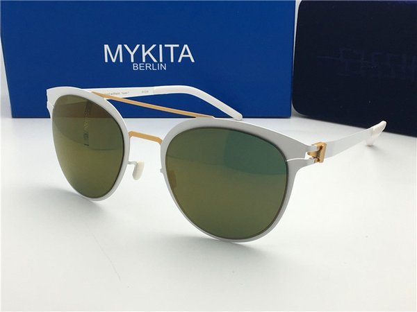 Luxury- new mykita sunglasses ultralight frame without screws DASH round frame flap top men brand designer retro coating mirror lens
