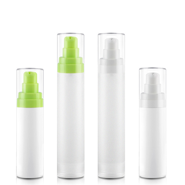best selling 50pcs 15ml 30ml 50ml Green Airless Lotion Pump White Frosted PP airless bottle for Eye cream Foundation Toner subpackage bottles
