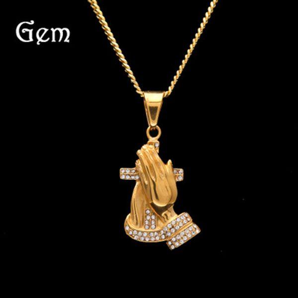 2019 New Gold Praying Hands Hip Hop Necklace Mens 14k Gold Religous Jewlry Iced Out Prayer Jesus Women Men Gift Plating