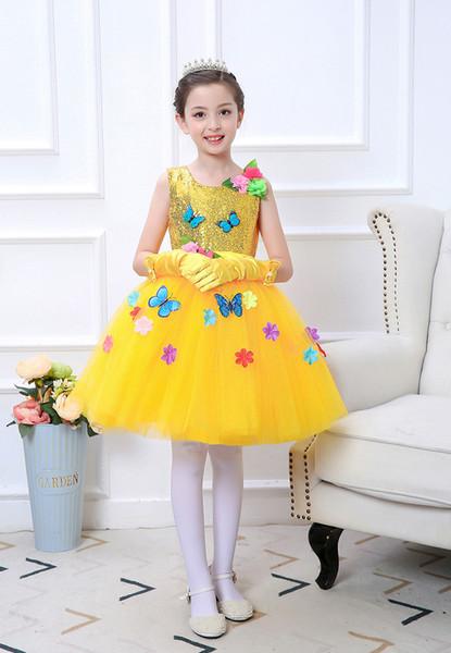 6 tailles Performances jour des enfants Costumes nouvelles filles Fleurs papillon princesse jupe étudiants Robe Choir RH0014 Présidée
