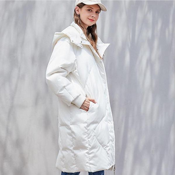 Winter fashion brand bread style hooded duck down coat female zipper stitching oversize clorak style warm down parkas wq888
