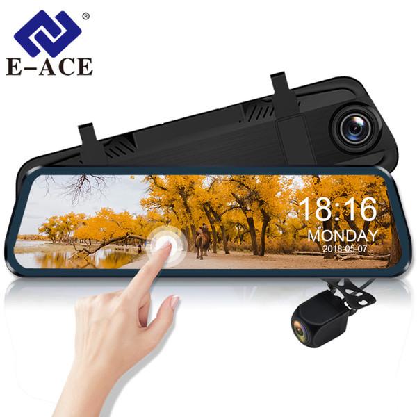 Cámara E-ACE Dvr para automóvil Reproductor táctil de 10 pulgadas Transmisión retrovisora Mirror Dash Cam FHD 1080P Registrador Grabador de video con cámara de visión trasera