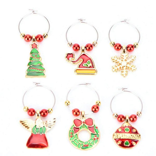 6 Pack Chirstmas Wine Glass Charms Rings Wine Glass Markers for Xmas Party Bar Table Decorations
