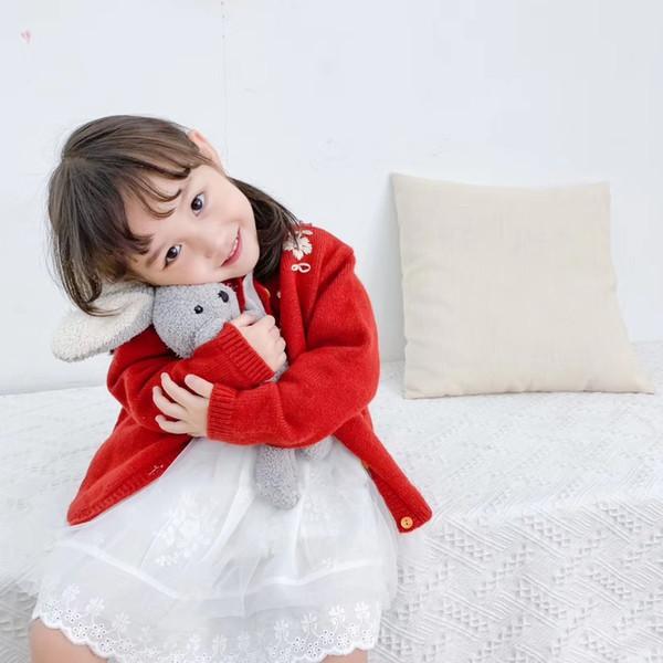 2019 autunno abbigliamento per bambini designer di moda Cappuccetto rosso per le ragazze vestiti maglione fiore rosso