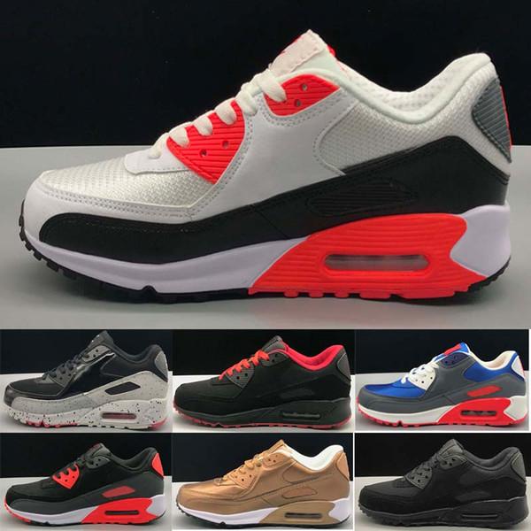 Корабль падения Designer shoes men women Nike AIR MAX 90 Anniversary Pack судебные процессы Бронзовый Черный Инфракрасный Кроссовки Мужчины Женщины Марка Тренеры Повседневная Обувь
