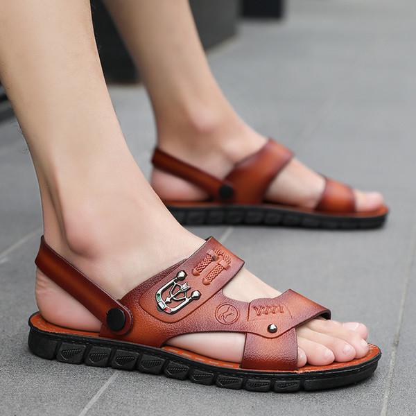 Compre Ocio Punta Abierta Suaves Playa Sandalias De Cuero Al Aire Libre Zapatos De Vestir De Verano Junto Al Mar De Los Hombres Planos Zapatos De