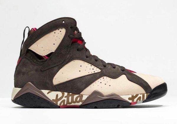 Authentic Patta x 7 OG SP Men Basketball Shoes Authentic 7S Icicle Sequoia-River Rock-Light Crimson Mans Sneakers AT3375-200 US 7-13