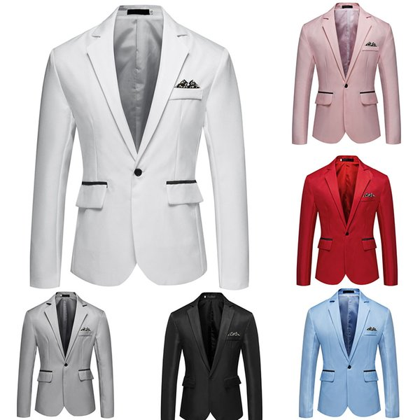 Men Blazer Jacket Smart Casual Fashion Slim Fit Men Suit Jacket Single Button Mens Blazer Solid Male Suit Coat Asian Size M-3XL