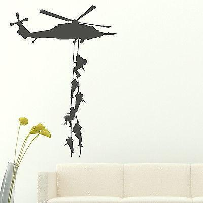 Wholesale-Marines Vinly Wall Sticker Helicopter Sticker Decal For Boys Bedroom Boys Army Decor