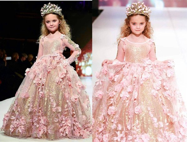 Gorgeous Sequins Girls Pageant Dresses 2019 Girl Communion Dress Ball Gown Kids Formal Wear Flower Girls Puffy Dresses for Wedding