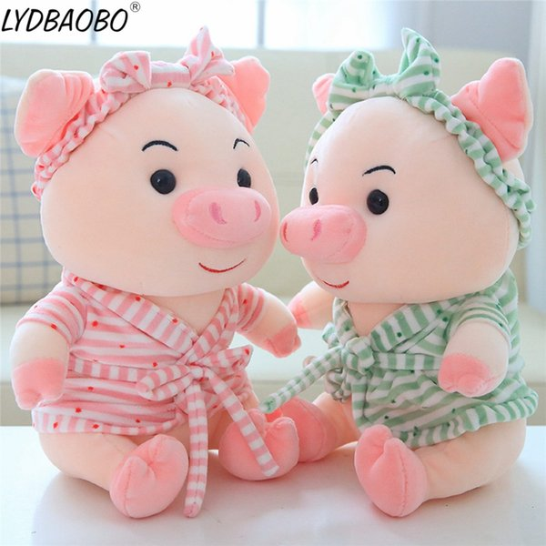35/45cm Lovely Hot Sale Bathrobe Pig With Bowknot Headband Stuffed Plush Doll Cute Pig Animal Plush Toy Baby Kids Birthday Gifts