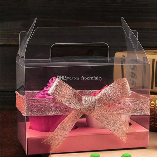Simple Clear PVC Cupcake Boxes Plastic Roll Cake Box With Handle DIY Baking Package Free Shipping cc156-163 2018060101