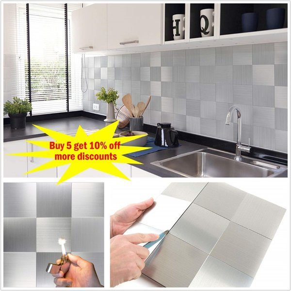 12x12 Square 3D Self Adhesive Metal Mosaic Tile Backsplash For Kitchen  Bathroom Stove Walls Waterproof Home Decoration Sticker CJ191219 Stickers  For ...
