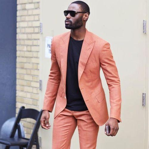 2019 Latest Designs Peaked Lapel Two Buttons Men Suits Custome Peach Tuxedos Cool Blazer Men Handsome Slim(Jacket+Pants)