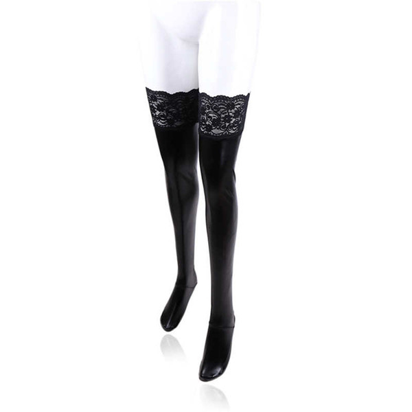 Encaje recubierto de encaje medias elásticas medias de cuero negro calcetines de charol juguetes sexuales pareja apasionada coqueteando productos del sexo