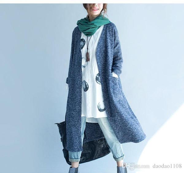 Зима осень тренчи для женщин свободные случайные длинный рукав длинный стиль серый и синий цвета